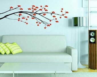 Cherry Blossom Tree Vinyl Wall Decal • Japanese Cherry Blossom Flowers Wall Decal Room Decor • Flowering Branch Decal