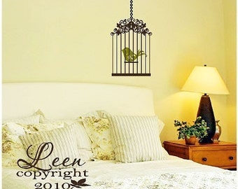 Sweet Bird in Fancy Cage Decorative Wall Decal • Birdcage Wall Decal Aviary Theme • Two Color Wall Decal • Sitting Room Bedroom Nursery