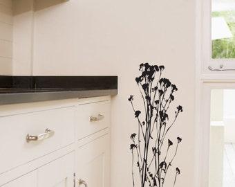 Wispy Wildflowers Wall Decal • Custom Wall Decal • Wild flowers personalize Nursery Kitchen Breakfast Nook Playroom