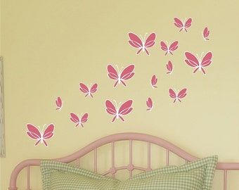 Butterfly Vinyl Wall Decals - Set of 15 Butterflies in varying sizes - Removable Vinyl Wall Decals for any room in need of a bit of whimsy