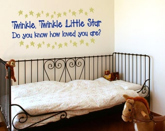 Twinkle Twinkle Little Star Nursery Rhyme Wall Decal • LOVE • Toddler Nursery Bedroom Playroom Decor • Classic Cute Custom Decor Baby Gift