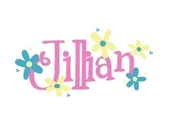 Daisy Garden Name Monogram Wall Decal with Flowers
