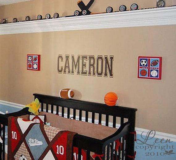 Name Monogram Wall Decal • Sports Fan Wall Decal • Teenage Room Wall Decal • Boys Room Girl • Man Cave Wall Decal