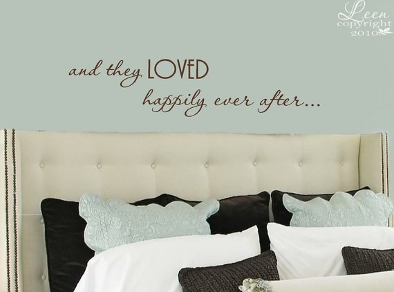 and They LOVED Happily Ever After Vinyl Wall Decal - Wedding Anniversary Gift - Love Wall Decal - Inspirational Sayings Wall Decal
