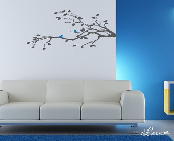 Tree Branch Wall Decal Sticker Two Birds Duo on Tree Branch Vinyl Wall Decal •  Removable Bird Decal • Nature Wall Decal • Made in the USA