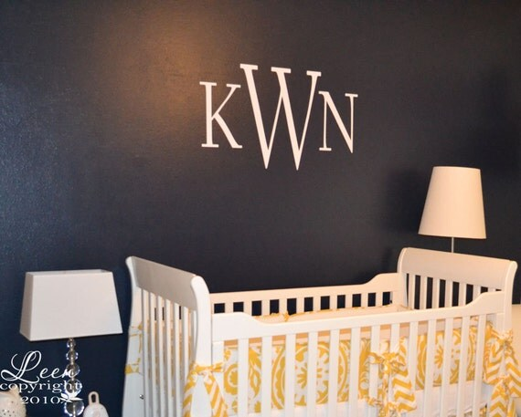Monogram Wall Decal Traditional Style Initials Wall Stickers for Nursery Kids Room Master Bedroom Removable Wall Applique Custom Letting