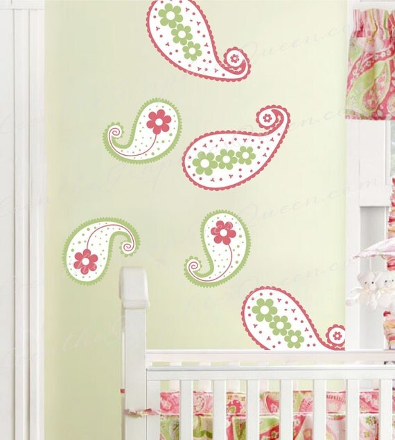 Paisley Wall Decal - Set of Six Fabric Wall Decals - Choose Three Colors to Customize Your Space - Eco friendly & Child Safe CPSIA Compliant