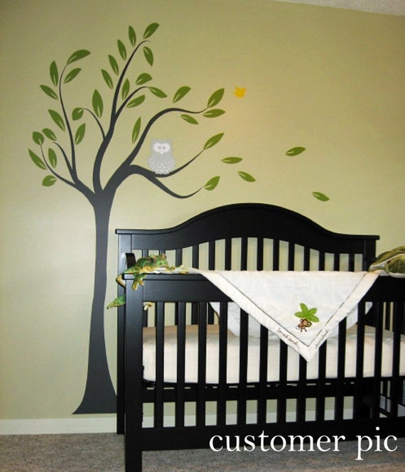 Owl in Tree Branch Wall Decal • Removable Vinyl • Woodland Nature Theme Wall Art• Customize Kid Bedroom Playroom Nursery