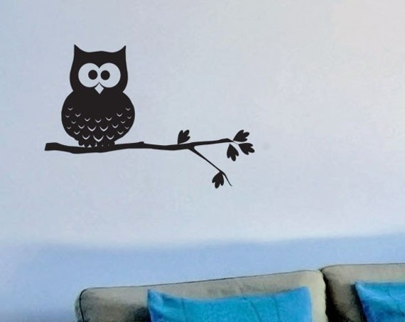 Owl Wall Decal - Mike the Owl on a Tree Branch Wall Sticker - Removable Vinyl Wall Decal for Your Child's Room or Playroom or Nursery