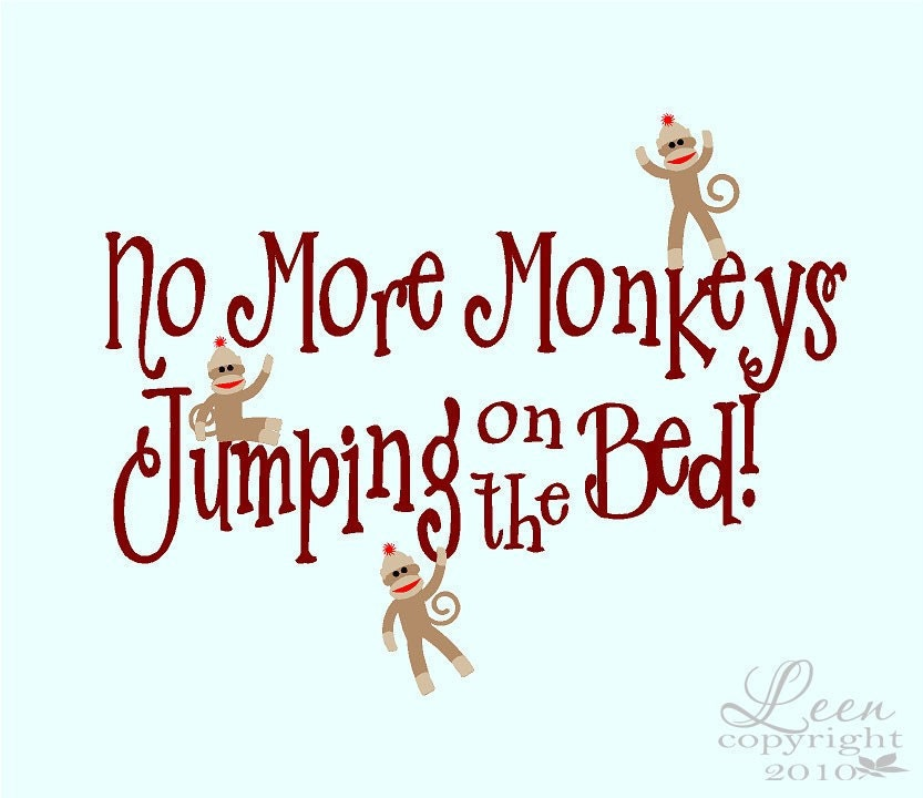 Sock Monkeys No More Monkeys Jumping On The Bed Wall Decal - Custom vinyl wall decals falling off