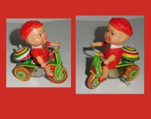 Tricycle -Tin Wind Up - Boy on Tricycle - Great Graphics - Colorful -  Fun -Original Box