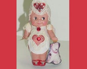 Valentine- Dressed Kewpie Doll - 1930's Celluloid - With Doodle Dog Cute -So Sweet