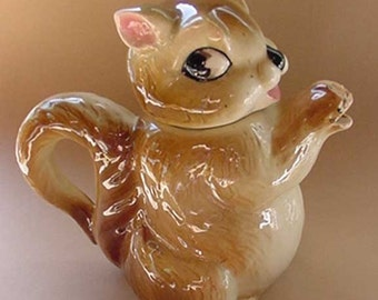 Vintage Figural Squirrel Tea Pot--Shafford-Decorated By Hand--Oh So Cute