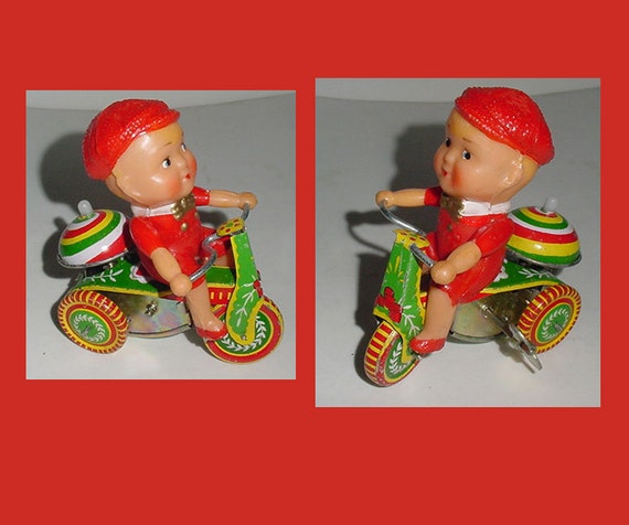 Tin Wind Up - Boy on Tricycle - Great Graphics - Colorful -  Fun