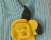 Flower Brooch - Yellow Handmade Felted
