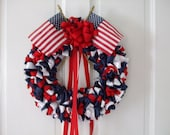 Reserved for Anna Red White and Blue Ribbon Wreath 12 inch Black Ribbon Wreath 12 inch