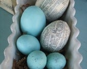 Eggs Hand Painted Aqua Decoupaged Set of 6 Farm Fresh Dictionary Pages