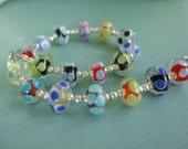Lampwork Glass Bracelet Polka Dots