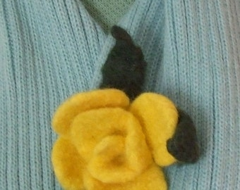 Flower Brooch - Yellow Handmade Felted