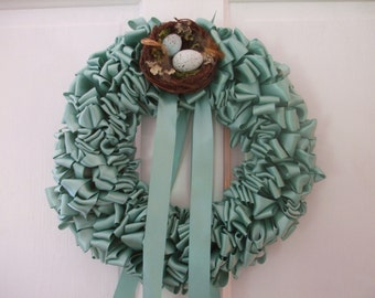 Robin's Egg Blue Ribbon Wreath Home 16 inch