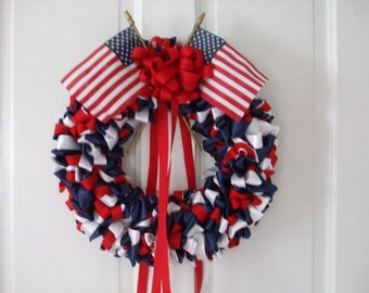 Red White Blue Ribbon Wreath Patriotic 12 inch 4th of July Presidents Day Memorial Day Veterans Day