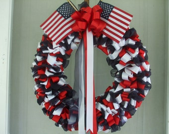 Ribbon Wreath Patriotic 26 inch Red White Blue