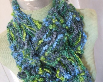 Scarf Blue Lime Hand Knit Scarf Drop Stitch Indigo Accents 50% OFF