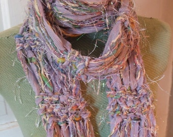 Lavender Scarf Soft Pastels Rock Star Fringe 50% OFF
