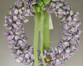 Ribbon Wreath Lilac Daisies Nest Butterflies 16 inch SALE 75% off