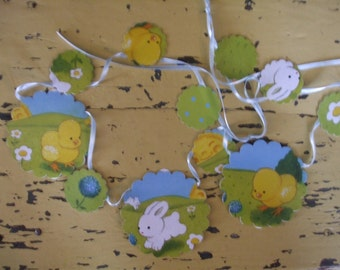 Paper Garland Spring Bunnies Peeps Polka Dots Sky Blue Over 4 Feet long Free U.S. Shipping