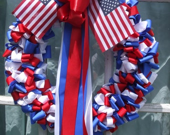 4th of July Wreath Patriotic 18 inch Red White Cobalt Blue Ribbon