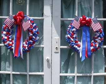 Wreath Patriotic Wreaths 18 inch Pair Red White Cobalt Blue Ribbon