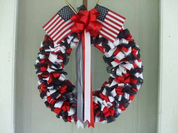 Ribbon Wreath Patriotic 18 inch Red White and Blue