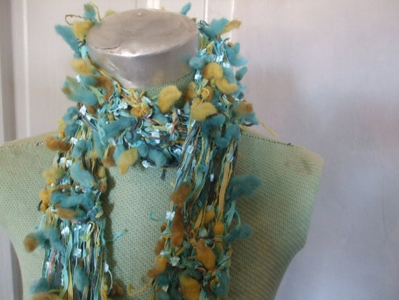 Knit Scarf Acid Green Aqua Hipster Rock Star Scarf Long Luxe Photo Shoot SALE 50% OFF