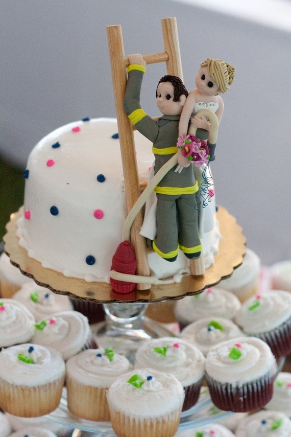 Fireman  with Bride Wedding Cake Topper