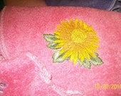 Hair wrap, turban, sunflower, embroidery design, dark pink, terry towel, for bath, pool, beach