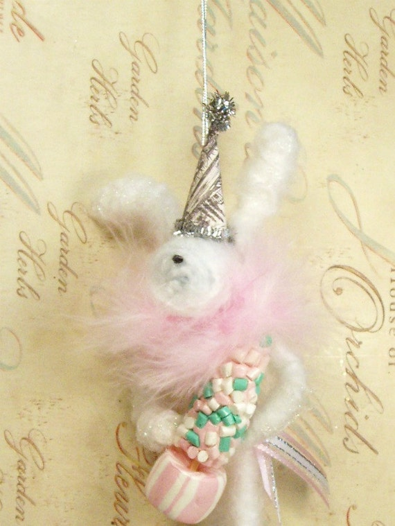 shabby chic White Bunny Rabbit ornament Easter Spring decor
