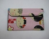 Mini Card Wallet or Coin Purse - Pink Kokeshi Japanese Dolls