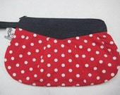 Polka Dot Clutch Wristlet Makeup Bag Red White