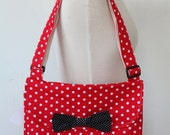 Messenger Bag Red & White Polka Dot Cross Body Bag Purse