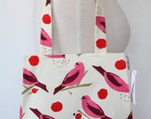 Purse Tote Bag - Pink Bird Seed - Rounded Shape