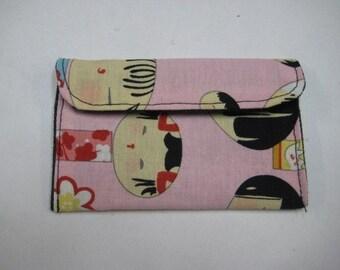 Mini Card Wallet or Coin Purse - Pink Kokeshi Japanese Dolls