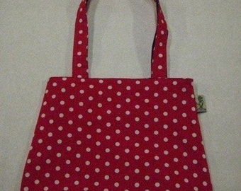 Red and White Polka Dot Rounded Purse Tote Bag