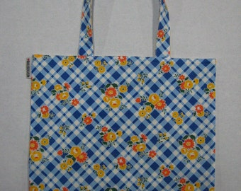 BIGGER Book Bag Tote Purse - Blue & White Picnic Floral