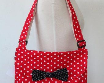Messenger Bag Red & White Polka Dot Cross Body Bag Purse