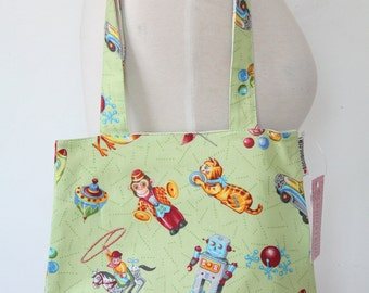 Purse Tote Bag - Retro Vintage Toys on Green - Rounded Shape