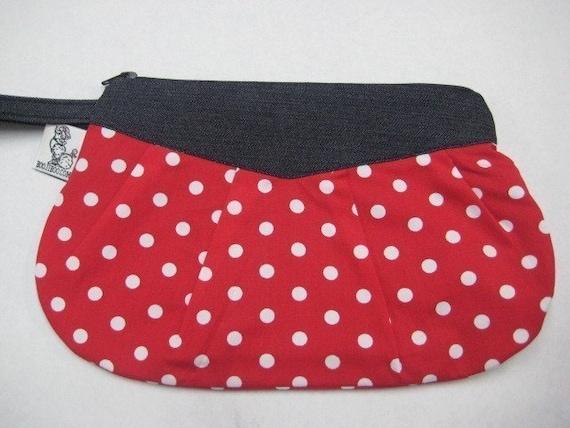 Polka Dot Clutch Wristlet Makeup Bag Red White