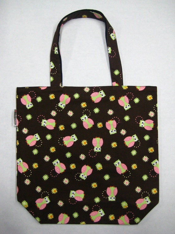 BIGGER Book Bag Tote Purse - Pink Owls on Chocolate Brown