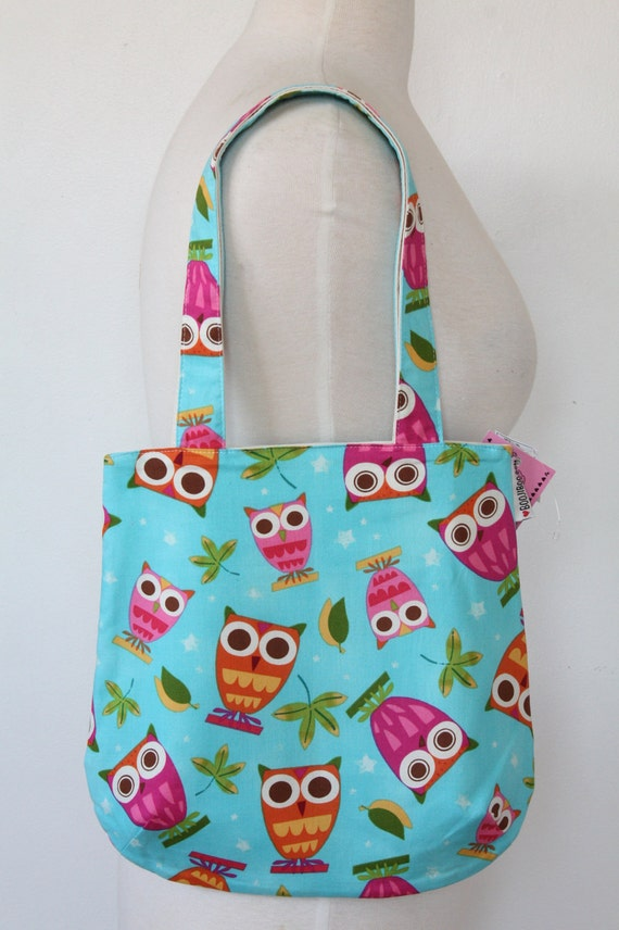 Rounded Purse Tote Bag - Bright Blue Owl