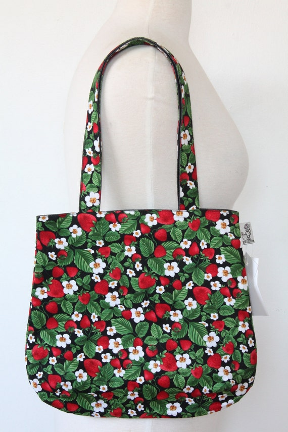 Purse Tote Bag - Strawberries & Flowers - Rounded Shape